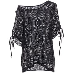 Cold Shoulder Batwing Beach Tunic Cover Up (€13) ❤ liked on Polyvore featuring rosegal, tops and beachwear