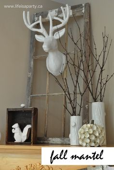 Happy first day of Fall!  It's been a busy day around here, but I wanted to share my Neutral Fall Mantel with you before the first day of Fall drew to a close.  I found this great deer head not las...