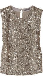 Vince Sequined crepe top and other apparel, accessories and trends. Browse and shop 11 related looks. Sequin Shirt, Sequin Tank Tops, Sequin Top, Sequin Dress, Crepe Top, Glitter Girl, Party Tops, Embellished Top, Party Fashion