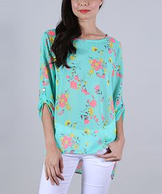 Another great find on #zulily! Collective Rack Seafoam Floral Hi-Low Tunic - Women by Collective Rack #zulilyfinds