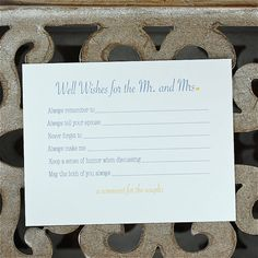 Bridal Shower Activity - Wedding Advice Cards @Patricia K. Evans, @Heather Creswell Welle, @Terri Osborne McElwee Wright - we could totally create something like this.