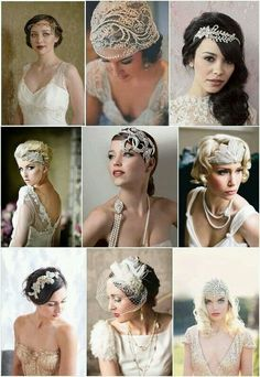 Vintage Wedding vintage bridal accessories - Find ideas and inspiration with French Wedding Style's Bridal Accessories Pinspiration - looking at the bridal styles of bohemian and vintage accessories Gatsby Wedding, Wedding Veils, Wedding Dresses, Hair Wedding, Wedding Vintage, Wedding Makeup, Gatsby Makeup, Vintage Bridal Hair, 1920s Party Dresses