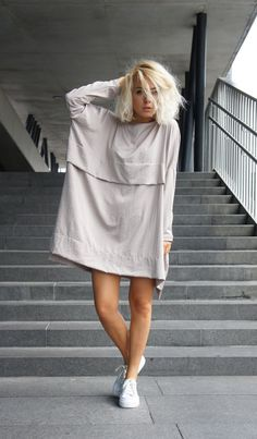 light grey knee length summer dress, day dress, evening dress, oversized dress
