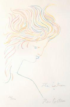 Jean Cocteau - Profil aux Crayons Couleurs. c.1955