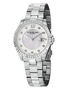 Women's Stainless Steel & Mother Of Pearl Watch by Stuhrling Original at Gilt