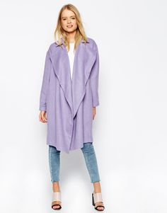 Image 1 of ASOS Duster Coat With Waterfall Detail In Cocoon Fit