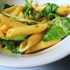 "Penne Pasta With Arugula, Mascarpone, And ""Bacon"""