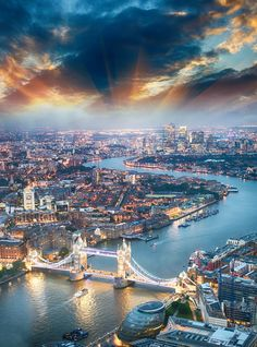 An aerial view of the city of London and the Tower Bridge. http://suitcasesandsunsets.com/london-england-travel-guide.html