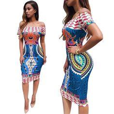 Traditional African Off Shoulder Dashiki BodyCon Dress