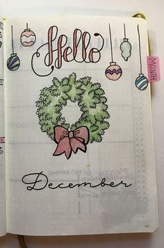 Super cute December Welcome page Bullet Journal Christmas, December Bullet Journal, Bullet Journal Themes, Bullet Journal Spread, Bullet Journal Layout, Bullet Journal Inspiration, Journal Covers, Journal Pages, Journals