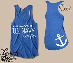 Proud US Navy wife eco friendly racer back tank by Loveandwarco, $26.95