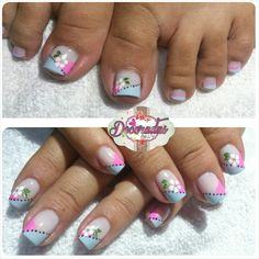 LovelyIdeas Fun in the Sun Decoradas por Diana Henao Cute Pedicure Designs, Nail Art Designs, Cute Toe Nails, Toe Nail Art, Nail Art For Girls, Elegant Nail Art, Nails Today, French Tip Nails, Tips & Tricks