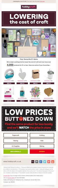 £1 only product recommendations from Hobbycraft #EmailMarketing #Email #Marketing #Crafts #Art #Hobbies #Hobby #Product #Recommendations