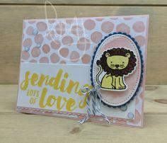Lion Love | Stampin\' Up! | A Little Wild | Lots of Love #literallymyjoy #lion #love #watercoloring #heatembossing #DapperDenim #PowderPink #WholeLotofLovelyDSP #20172018AnnualCatalog