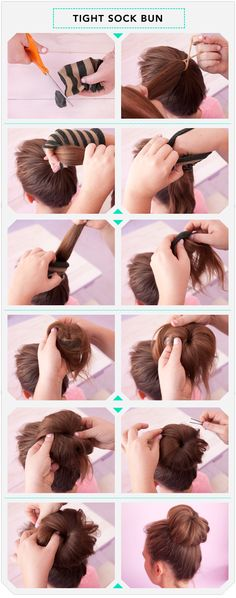The Better Bun! Better than the sock bun. Even easier than a sock bun! Perfect, less formal look.~ So easy and looks good too! Corte Y Color, Tips Belleza, About Hair, Great Hair, Pretty Hairstyles, Bun Hairstyles, Style Hairstyle, Messy Hairstyle, Bun Updo
