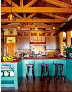 Turquoise Kitchen with Wooden Beams.