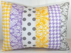 Pillow Cover, Nursery Cushion Cover, Baby Girl Nursery Decor, Pillow Cover, 12 x 16 Inches,Lavender, Purple, Yellow, Gray Houndstooth,Damask...