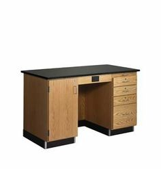 Diversified Woodcraft 1214KF-R Desk,Instr,60X30X36 without Fix by Diversified Woodcrafts. $2851.62. Serves as a complete demonstration center. Offers spacious work surface. 1 in. black phenolic resin top. Dovetail drawers operate smoothly. Epoxy coated steel glides. Nylon bearings. Unit features GFI protected AC duplex receptacle. Locks for cupboard and all four drawers. Made from solid oak, oak and hardwood veneers. 60 in. W x 30 in. D x 36 in. H (400 lbs.). Ass...