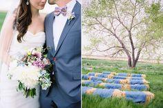 men in light gray, groom in blue gray