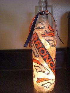 Handmade Lighted Wine Bottle w/ Denver BRONCOS. $20.00, via Etsy.