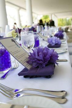Modern purple wedding decor & centerpieces from Cornelia & Ramzi's intimate VA wedding