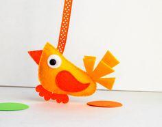 Plush Felt Bird, Modern Bird Eco-Friendly felt Bird Christmas ornament, gift party favor  A597 Ready to Ship