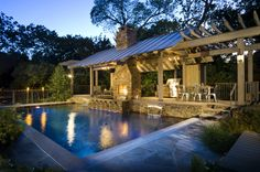 Outdoor fireplace and pool