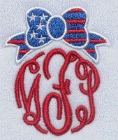 USA Flag Ribbon Frame Embroidery Design | Apex Embroidery Designs, Monogram Fonts & Alphabets