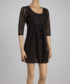Another great find on #zulily! Black Lace Scoop Neck Dress by Reborn Collection #zulilyfinds
