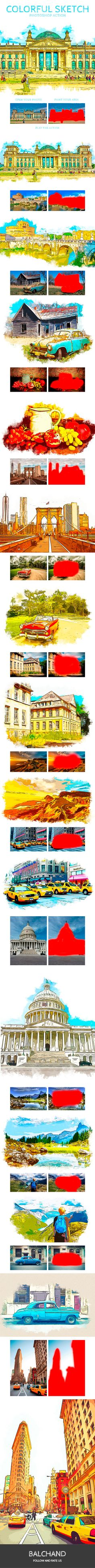 Colorful Sketch Photoshop Action - Photo Effects Actions