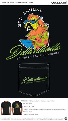 Delta Tau Delta Shirt | Fraternity Shirt | Greek Shirt #deltataudelta #dtd #parrot #recruitment
