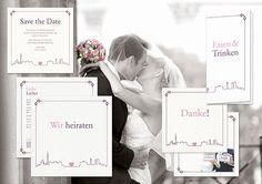 Individuelle kreative Hochzeitskarten Großstadt-Liebe. Berlin in Love. Filigran, Outline, Skyline