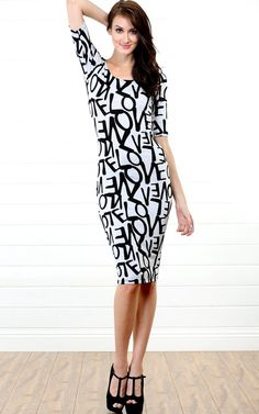 Jersey Love Letter Midi Dress GRAY BLACK