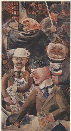 George Grosz: Die Stützen der Gesellschaft (The Pillars of the Society), 1926. Oil on canvas. 200 x 108 cm. Staatliche Museen zu Berlin - Preussischer Kulturbesitz, Nationalgalerie, Berlin, Germany.