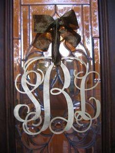 Monogram door decor instead of wreath