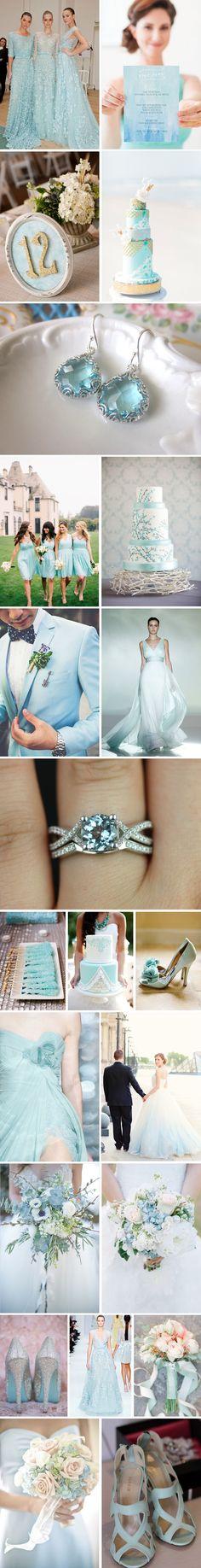 aquamarine wedding color inspiration #FeltNoir #Aquamarine #MarchBirthstone