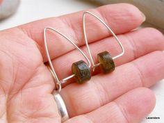 Labradorite Earrings  Sterling Silver  Triangle  von lavenders