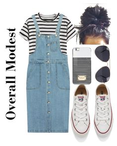 Overall Modest Outfit by apostolicgirl85 on Polyvore featuring Chicnova Fashion, Converse, Michael Kors and NLY Accessories