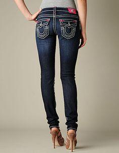 True Religion Brand Jeans Mobile - ;WOMENS JULIE NATURAL SUPER T W/ FUCHSIA BARTACKS JEAN - (LONESTAR)