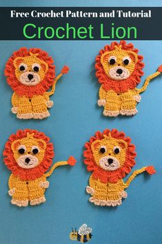 Here's a free crochet pattern of this crochet lion. Get it along with many other crochet animals at Kerri's Crochet. #CrochetLion #FreeCrochetPatterns #CrochetAnimals