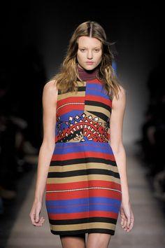 CARVEN Fall 2012 Turtleneck Multicolor Striped Sleeveless Panelled Mini Dress