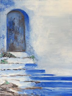 Door Art Old Door Painting Blue Art Cottage Home by Swede13Cottage