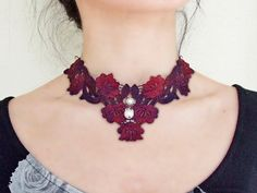 This hand dyed dark red floral Lace choker necklace is a unique design.It has vintage and modern style blended together.Good quality, ideal as a gift !