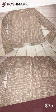 Ann Taylor LOFT sweater Multicolored nudes. Has pockets. No zip for closure. Brand new LOFT Sweaters Cardigans