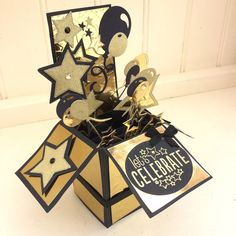 Balloons and stars pop-up birthday celebration-congratulations-gold embossed-Husband-Dad-Father-Brother-Son-Boyfriend Dad Son, Brother, Husband, Sparkling Stars, Pop Up Box Cards, Large Letters, Graduation Cards, Lets Celebrate, Box Design