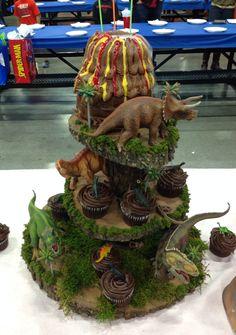 Dinosaur cupcake tower and volcano cake!