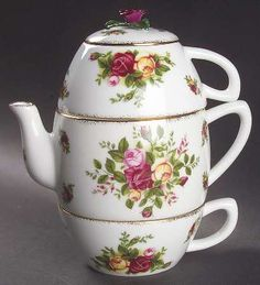 Tea For Two-(2 Cups,open Teapot, Lid) in the Old Country Roses pattern by Royal Albert China