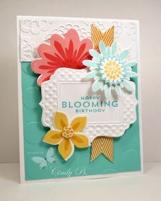 Flower Patch Stamp Set from Stampin' Up! and matching Flower Fair Framelit Dies.