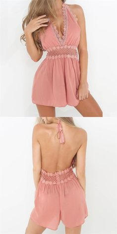 caa402340d 2018 new backless pink deep v neck jumpsuit bodysuit womens summer  sleeveless beach jumpsuit ladies holiday