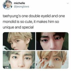 i never noticed it even i'm a a fake fan and i even thought he just makes such facial expression with eyes that one is- nvm i'm dumb and tae is still beautiful and that's hella unique i love it